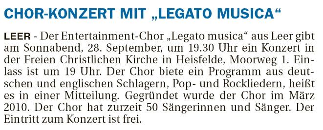 """Chorkonzert mit """"Legato Musaica"""""""
